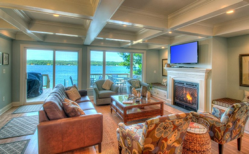 Beautiful living room with breathtaking lake views.
