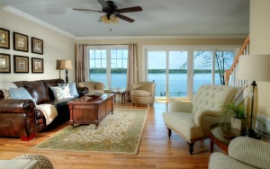 Living room with beautiful views of Owasco Lake.