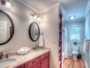 Spacious bathroom with granite countertops on the main level Skaneateles Lake.