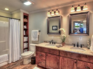 Master bathroom en suite on lower level  of Skaneateles Lake.