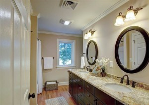 Beautiful second level full bathroom .
