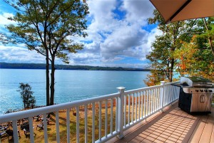 An amazing view of Skaneateles lake off the deck .