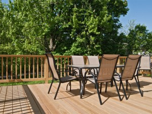 Deck view with seating for 6 people .