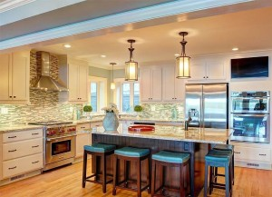 Exquisite kitchen with stainless steel appliances .