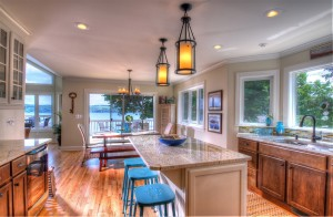 Kitchen has beautiful views of Skaneateles Lake with seating for up to 10 people.