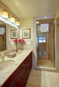 Master bathroom on main level of Skaneateles Lake.