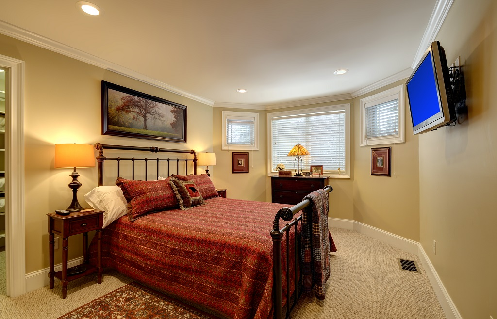 Charming guest bedroom with queen sized bed