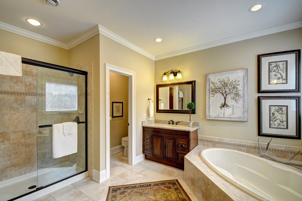 Beautiful & spacious, our main level master bath is just what you need to relax!