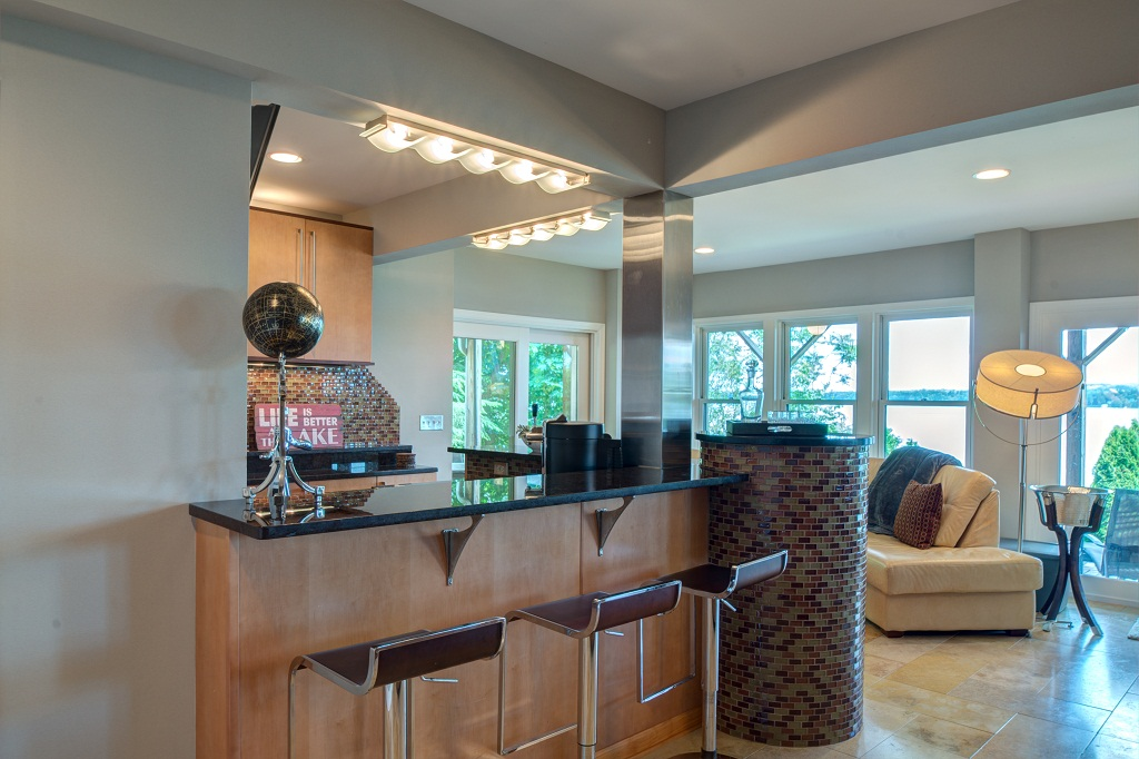 Have refreshments at the lower level wet bar