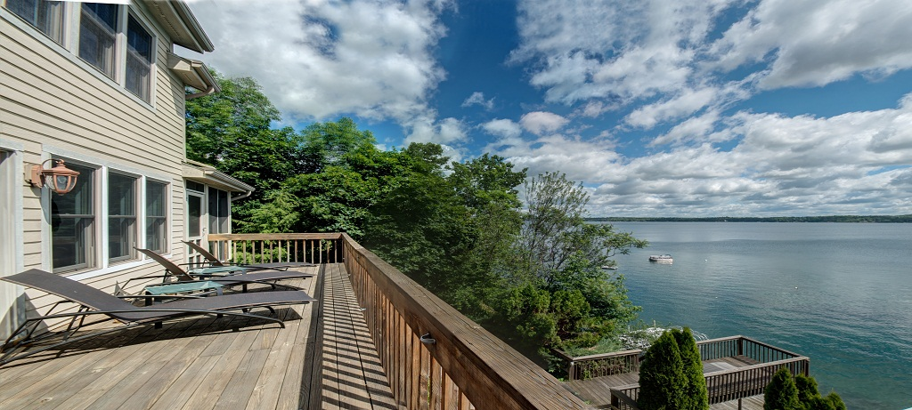 Main level deck with gorgeous lake views