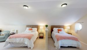 Spacious Upper Level Bedroom with One Queen and One Full Bed