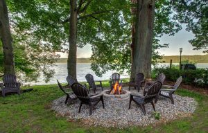 Beautiful lakeside fire pit!