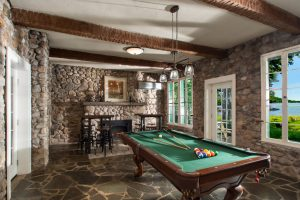 This gorgeous cobblestone billiard room is a show stopper!