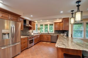 Amazing chefs kitchen with Wolf stove and granite counters!
